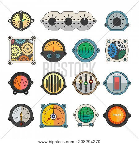 Colorful meter icons set.