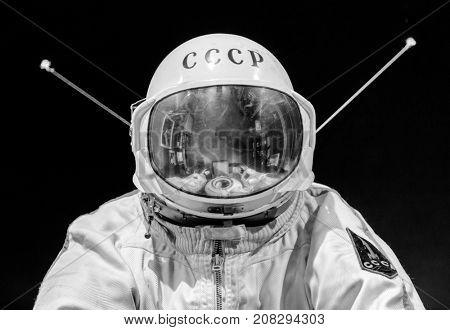 Saint Petersburg, Russia - May 13, 2017: Russian astronaut spacesuit in Saint Petersburg space museum