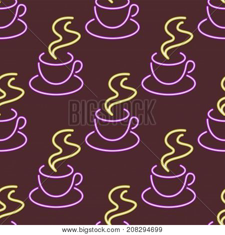 Light neon coffee cups seamless pattern background vector illustration font decorative symbols night bright objects. Cafe club decoration electric bar advertise lamp business glowing.