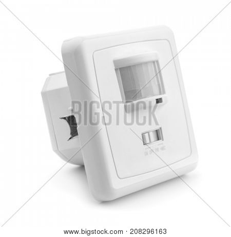 Infrared motion and sound sensor isolated on white