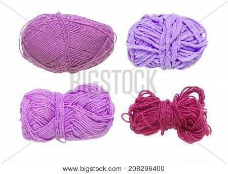 Colored Balls Of Yarn. View From Above. Rainbow Colors. Yarn For Knitting. White Background. Isolate