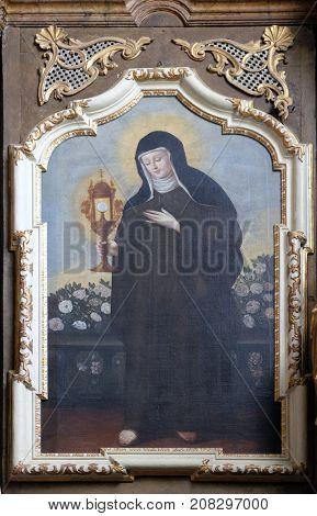 VARAZDIN, CROATIA - JULY 09: Saint Clare of Assisi, altarpiece in Saint John the Baptist church in Varazdin, Croatia on July 09, 2016.