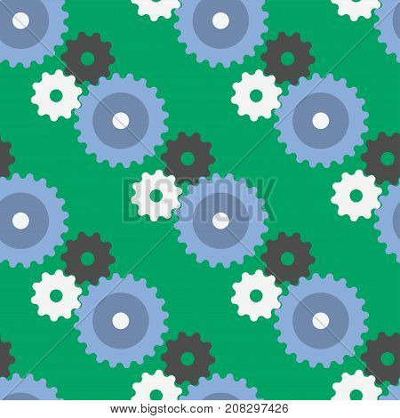 Vector gears icons seamless pattern background machine wheel mechanism machinery mechanical, technology technical sign. Engineering symbol, round element gears icons.