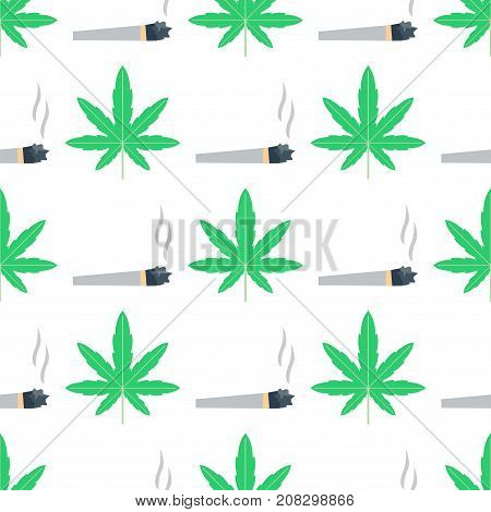 Green marijuana background vector illustration. Seamless pattern marihuana leaf herb narcotic textile. Grass medical agriculture addictive weed nature forbidden.