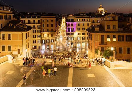 ROME.ITALY - JULY 17, 2017 : View of Piazza di Spagna and central Rome at night from the Spanish Steps