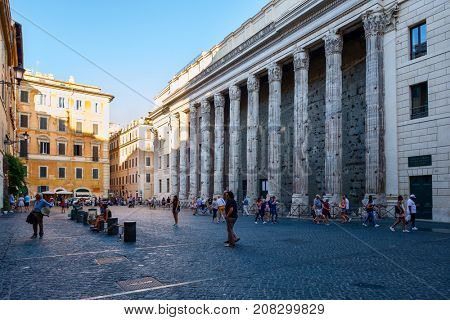 ROME.ITALY - JULY 16, 2017 : Piazza di Petra with the Hadrian Temple in central Rome