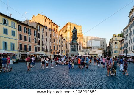 ROME.ITALY - JULY 16, 2017 : Campo dei Fiori with the statue of Giordano Bruno in the historic center of Rome at sunset