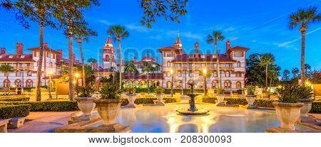 St. Augustine, Florida, USA panorama at twilight.
