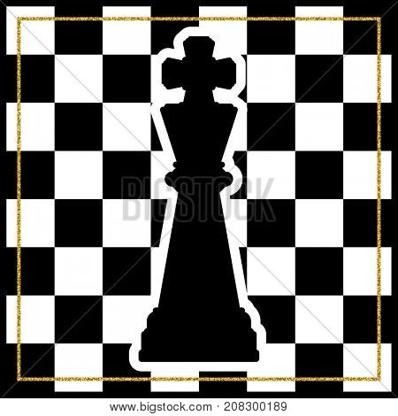 Chessboard with a chess piece King and a gold frame. Traditional Christmas holiday game.