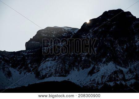 Sunset in Telera Peak, Partacua Mountains, Tena Valley, Huesca Province, Aragon , Spain.