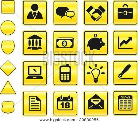 Economy Icon on Yellow Sign Button Collection Original Illustration