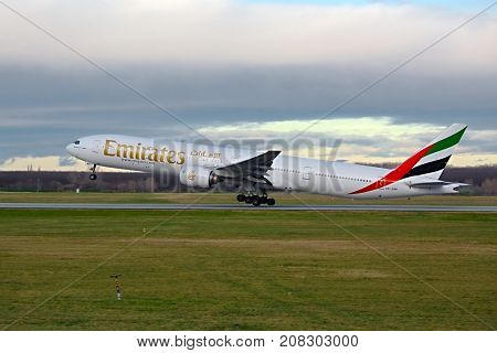 BUDAPEST, HUNGARY - DECEMBER 1, 2015: Emirates Boeing 777-300 taking off at Budapest Airport. This was the start of Emirates operating 777s on their route to Budapest.
