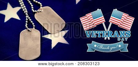 Logo for veterans day in america  against dog tag chains on star shapes