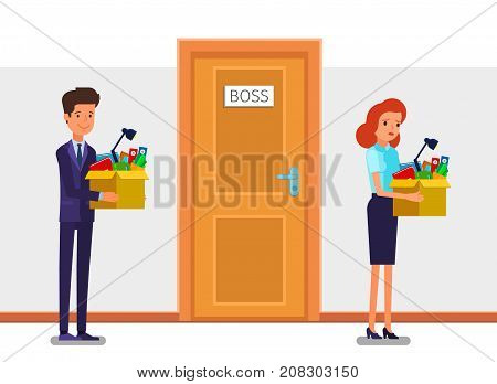 Concept of New job, hiring and dismissal. Happy young business man holds a box with his things and going into new office. Dismissed frustrated business woman. Flat design, vector illustration.