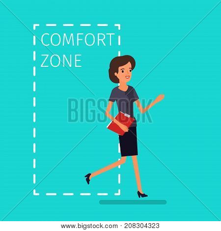 Concept of comfort zone. Business woman leaving the comfort zone to success. Flat design, vector illustration.