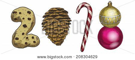 New Year 2018 . Winter card with candies cone biscuits and a Christmas tree toy. Vector image for new years day christmas sweet-stuff winter holiday new years eve.