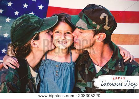 Logo for veterans day in america  against soldier couple reunited with their daughter
