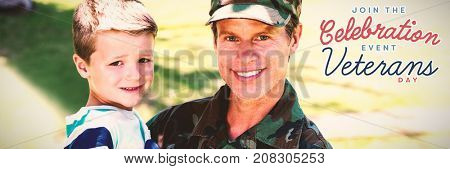 Logo for veterans day in america  against happy soldier reunited with his son