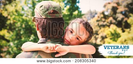 Portrait of sad daughter hugging army man against logo for veterans day in america