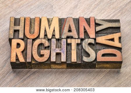 Human Rights Day (10 December)  - handwriting on a napkin with a cup of coffee Day (10 December)  - word abstract in vintage letterpress wood type blocks