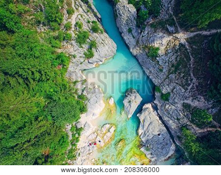 aerial view on the mountains river Soca
