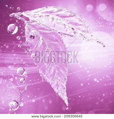 Leaf made of water splash. Pink color. 3d rendering