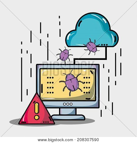 computer with virus in the system information vector illustration