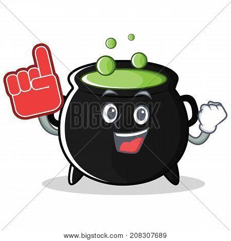 Foam finger magic cauldron character cartoon vector illustration