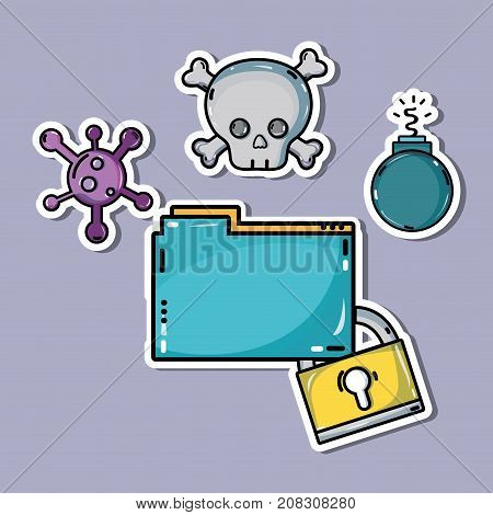 documents information with dangerous cyber virus vector illustration