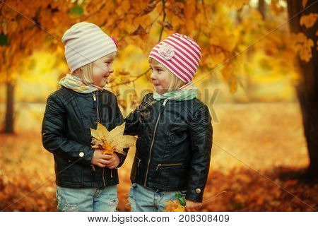 Portrait Two Adorable little sisters in autumn park with leaves
