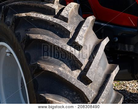 Close up of tractor tire wheel great farming agriculture background image