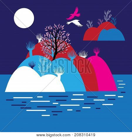 Graphics miracle landscape with mountains and hills and trees in the lake