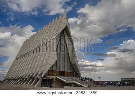 US Air Force Academy, Colorado - Sep 22, 2017: People attending an event near the famous Cadet Chapel