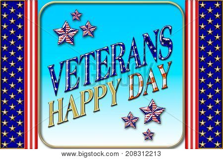 Happy Veterans Day, 3D, Honoring all who served, American holiday template.