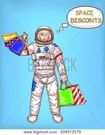 Smiling woman in spacesuit, female astronaut or space explorer with colorful paper shopping bags in hand pop art vector illustration. Space discounts concept for big seasonal sales ad, promo design