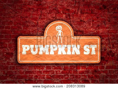 Vintage styled house nameplate. Zombie silhouette. Pumpkin st text. Ancient brick wall grunge texture