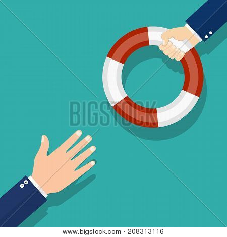 Helping Business concept. Businessman holding a lifebuoy in hand. To give help to the drowning man, metaphor. Vector illustration flat design.