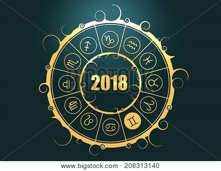 Astrological symbols in the circle. Gemini sign. Celebration card template. Zodiac circle with 2018 new year number. 3D rendering
