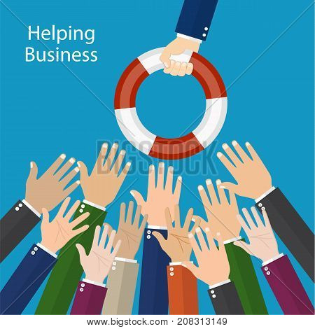 Helping Business to survive. Businessman holding a lifebuoy in hand. Business help, support, survival, investment concept. illustration in flat style