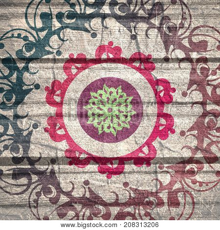 Decorative design element. Patterns with geometric ornament. Circular ornamental symbol. Asian ornamental motifs. Grunge concrete wall and wooden planks texture