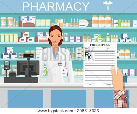 hand holding a prescription rx form. Interior pharmacy or drugstore with female pharmacist at the counter. Medicine pills capsules bottles vitamins and tablets. vector illustration in flat style