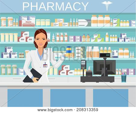 Modern interior pharmacy or drugstore with female pharmacist at the counter. Pharmacist showing some medicine. vector illustration in flat style