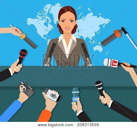 Press conference, world live tv news, interview. hands of journalists with microphones. vector illustration in flat style on blue background with world map