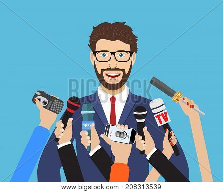 Business man giving an interview in the presence of journalists with microphones. vector illustration in flat style