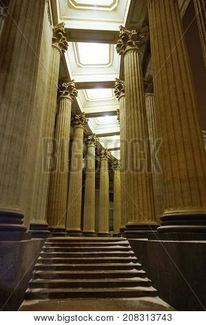 Pillars of Kazan Cathedral in winter evening in Saint Petersburg