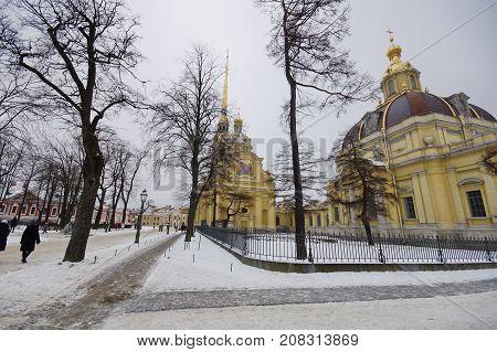 Petropavlovsky Cathedral in winter in Saint Petersburg in Petropavlovskaya Fortress