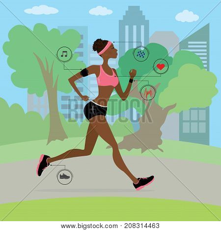 African american young and slim woman running in the park, fitness cartoon vector illustration