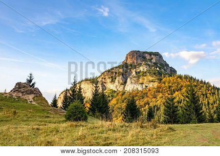 Stony Little Rozsutec Hill In Autumn Landscape