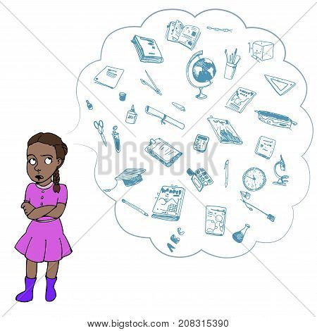 Dark skinned child, girl, teen, teenager in bad mood. Study, studying, learning problems. School objects in a cloud. Vector outlined illustration. Colored image, white background.
