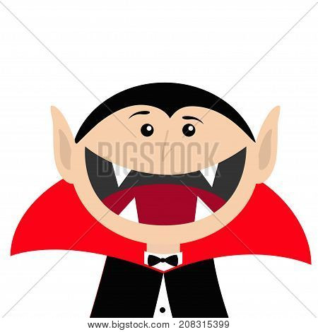 Count Dracula head face wearing black and red cape. Cute cartoon vampire character with fangs. Big mouth. Happy Halloween. Greeting card. Flat design. White background. Isolated. Vector illustration